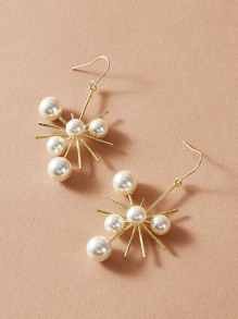 1pair Faux Pearl Decor Radiation Drop Earrings