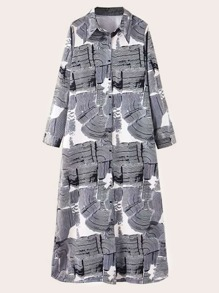 Button Front Graphic Print Shirt Dress