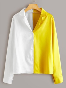 Two Tone Button Through Satin Blouse