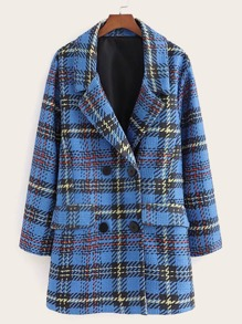 Tweed Lapel Neck Plaid Pea Coat