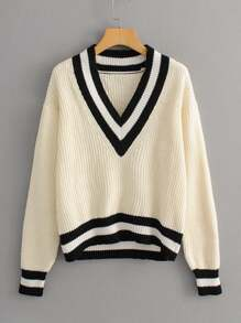 Contrast Panel V Neck Cricket Sweater