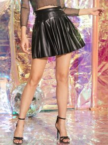 Solid PU Leather Pleated Skirt