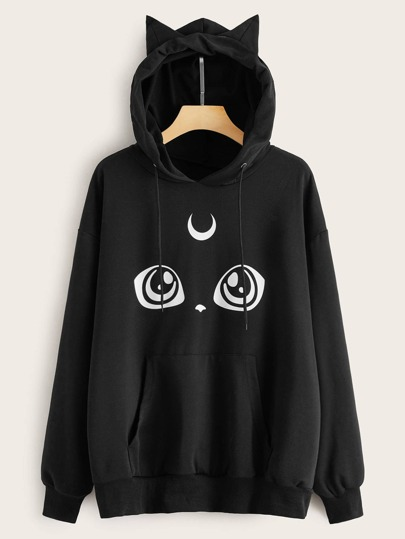 Pull à capuche oversize avec imprimé chat cartoon