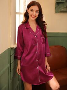 Contrast Binding Satin Night Dress