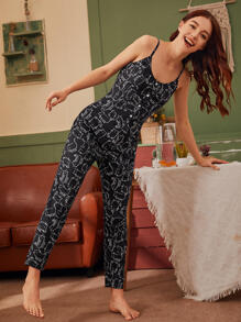 Cat Print Button Front Cami Jumpsuit