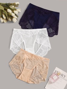 3pack Contrast Lace Panty Set