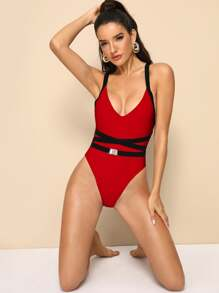 Criss Cross One Piece Swimwear