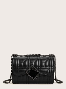 Metal Decor Quilted Chain Crossbody Bag