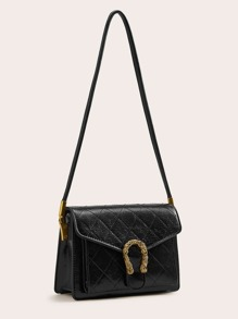 Metal Decor Quilted Crossbody Bag
