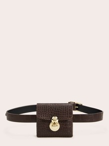 Mini Croc Embossed Push Lock Fanny Pack