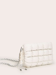 Faux Pearl Decor Quilted Chain Crossbody Bag