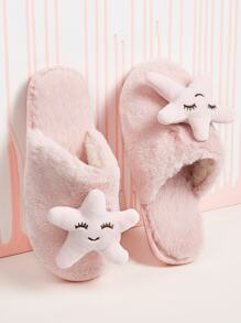 Star Decor Faux Fur Slippers