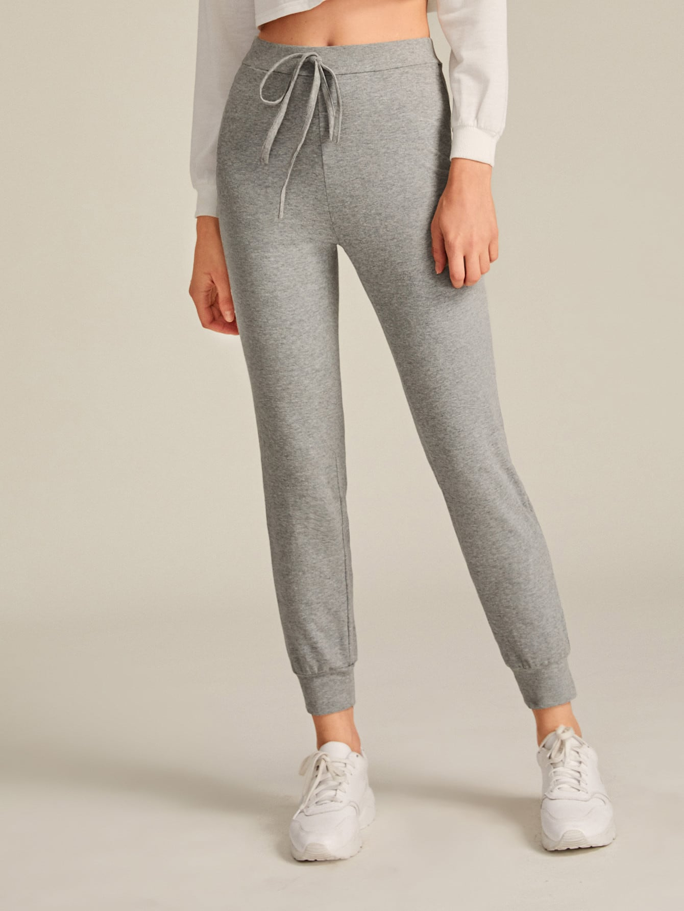 Elastic Waist Knot Detail Solid Joggers thumbnail
