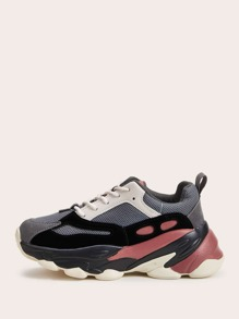 Colorblock Lace-up Front Chunky Sole Trainers