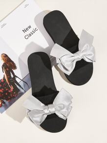 Metallic Bow Decor Open Toe Sliders