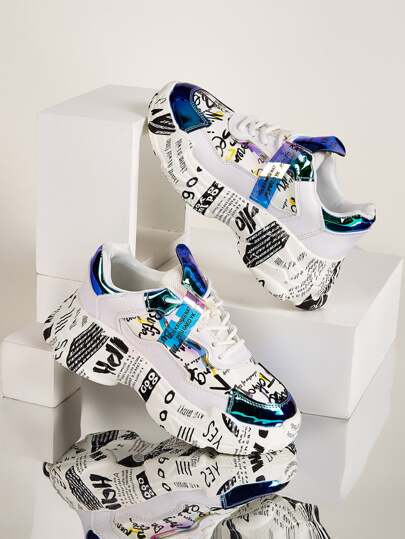 Letter Graphic Holographic Chunky Trainers