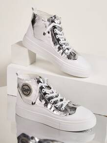 Rhinestone Detail Metallic High Top Sneakers