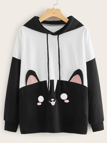 Cartoon Print Drawstring Hooded Sweatshirt