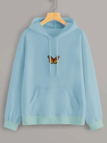 Butterfly Embroidered Kangaroo Pocket Hoodie