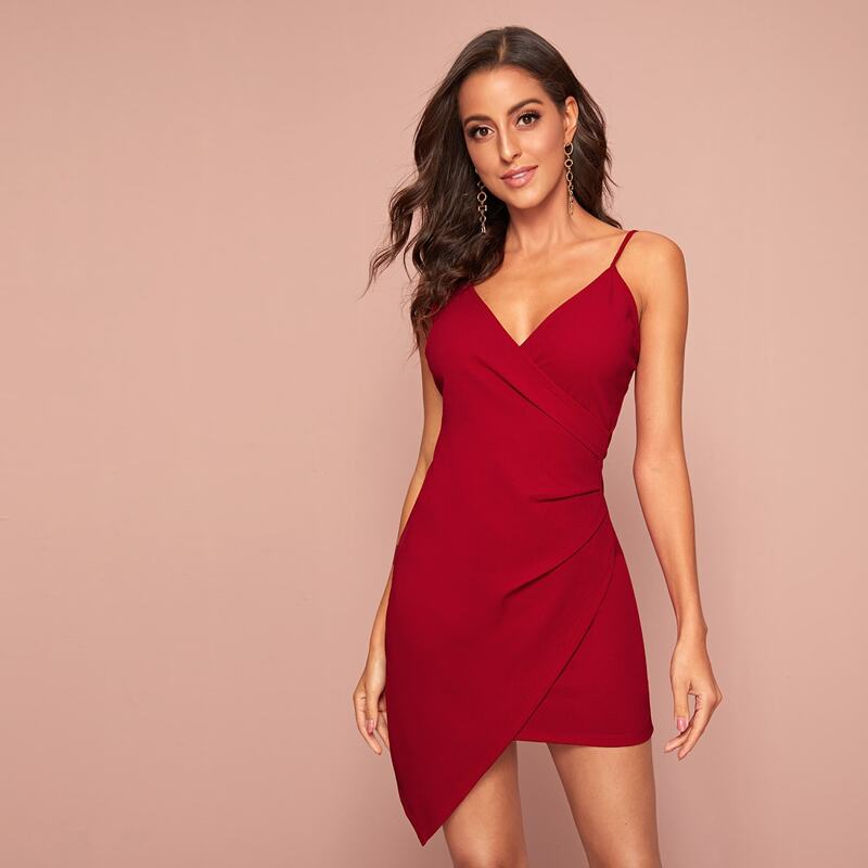 Solid Asymmetrical Hem Wrap Slip Bodycon Dress, Burgundy