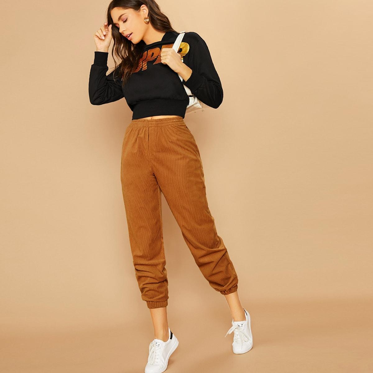Вельветовые брюки с эластичной талией
