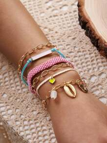 6pcs Shell & Heart Decor Bracelet