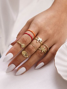 8pcs Shell & Starfish Decor Ring