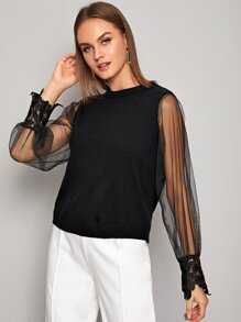 Contrast Sheer Mesh Guipure Lace Cuff Sweater