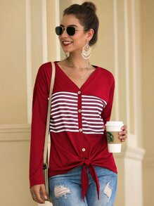 Striped Button Through Knot Hem Tee