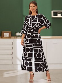 Geometric Print Belted Wide Leg Jumpsuit