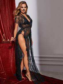 Floral Lace Sheer High Split Dress With Thong