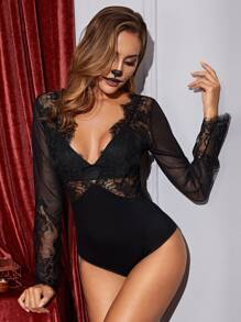 Eyelash Floral Lace Teddy Bodysuit