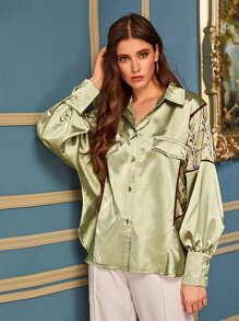Contrast Snakeskin Button Through Satin Blouse