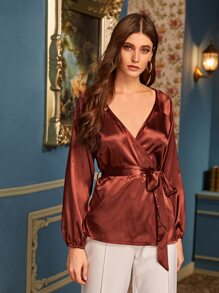 Solid Belted Satin Wrap Blouse
