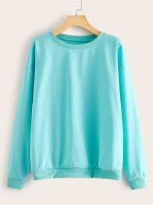 Solid Drop Shoulder Round Neck Sweatshirt