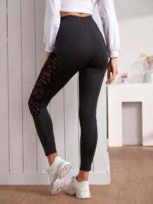 Solid Contrast Sheer Mesh Leggings