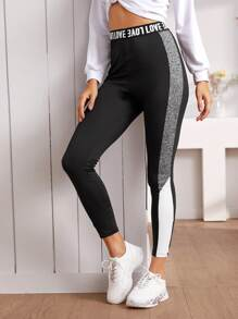 Letter Waistband Contrast Panel Leggings