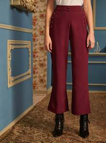 Solid Button Detail Flare Leg Pants