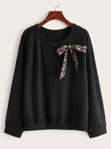 Leopard Knotted Ribbed Knit Jumper