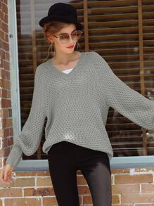 Solid V-Neck Bishop Sleeve Slouchy Sweater