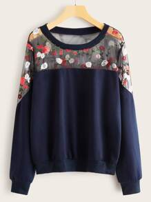 Contrast Floral Embroidery Mesh Sweatshirt