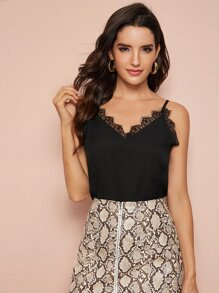 Contrast Lace V-Neck Cami Top