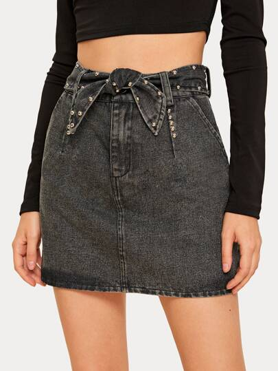 Solid Beaded Belted Denim Skirt