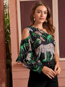 Leopard & Tropical Print One Shoulder Blouse