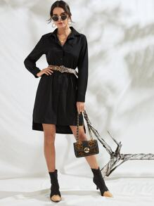 Solid Button Through Shirt Dress With Leopard Belt