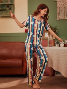 Bear Print Muti-color Striped PJ Set