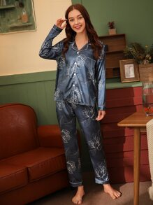 Plant Print Button Front Satin PJ Set