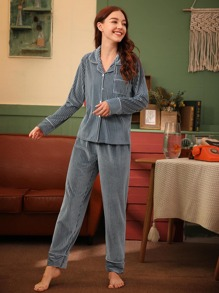 Rib Button Front Velvet PJ Set