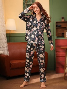 Floral Print Button Front Satin PJ Set