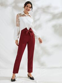 Solid Self Tie Cigarette Pants